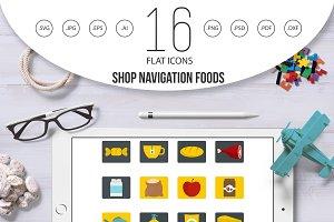 Shop navigation foods icons set