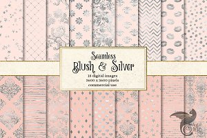 Blush Pink and Silver Digital Paper