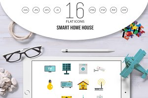 Smart home house icons set in flat