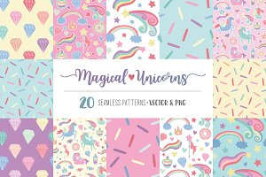 Magical Unicorns - Seamless Patterns