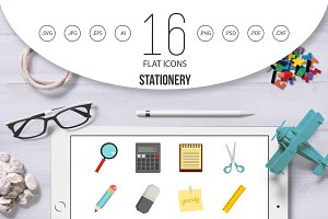Stationery symbols icons set in flat