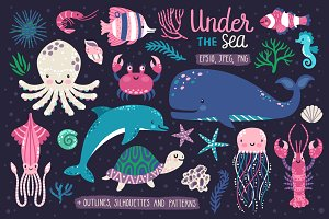 Cute sea animals and patterns