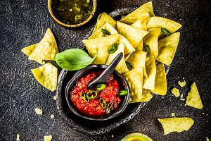 Mexican nachos with salsa sauces