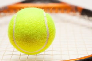Abstract Tennis Ball, Racquet and Nylon Strings.