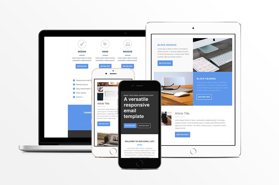 Responsive HTML Email Template ~ Email Templates ~ Creative Market