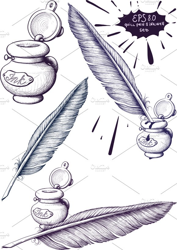 quill pen and inkwell set illustrations creative market
