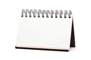 Blank Spiral Note Pad Standing Isolated on a White Background.