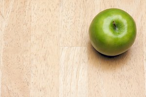 Apple Overhead on Wood Background with Room for Text
