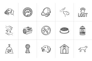 Pets hand drawn outline doodle icon set.