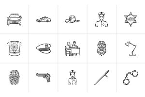 Police hand drawn outline doodle icon set.
