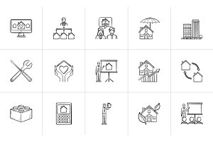 Real estate hand drawn outline doodle icon set.