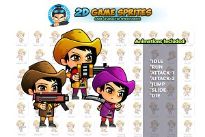 CowGirls 2D Game Sprites set