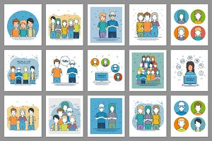 30 young people vector set