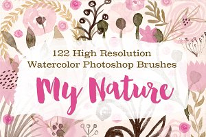 122 Watercolor Photoshop Brushes - M