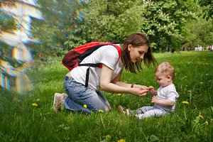 Family. Mother and son outdoors