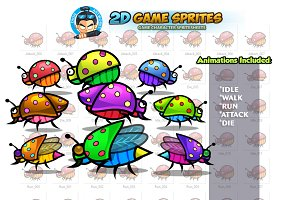 Bugs 2D Game Sprites Set