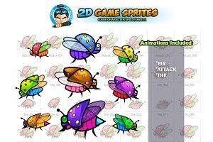 Flying Bugs 2D Game Sprites Set