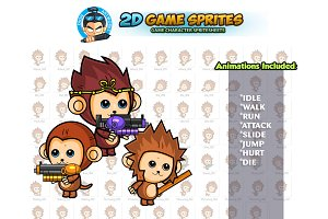 Monkeys 2D Game Sprite Set