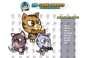 Cats 2D Game Sprites Set