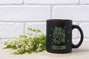 Black coffee mug mockup with white