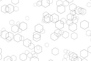 Hexagon lines on white background in futuristic technology concept. Abstract geometry shape. 3d illustration