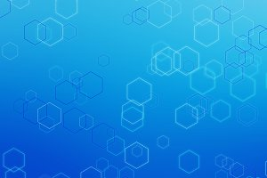 Hexagon lines on blue background in futuristic technology concept. Abstract geometry shape. 3d illustration