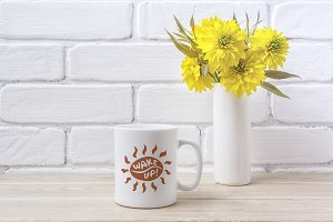 White coffee mug mockup with Golden