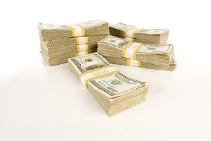 Stacks of One Hundred Dollar Bills Isolated on Gradation.