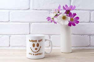 White coffee mug mockup with white