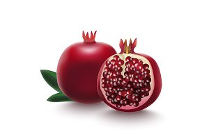 Whole Pomegranate with Half Vector
