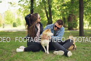 Excited young people loving couple are fussing cute dog shiba inu scratching its fur, talking and laughing sitting on grass in park. People and animals concept.