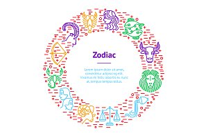 Zodiacal Thin Line Set. Vector