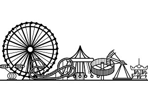 Silhouette Amusement Park. Vector