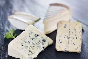 artisanal cheese on slate