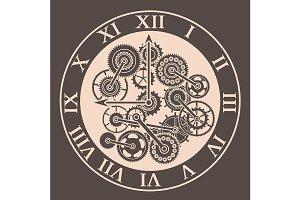Silhouette Clock Mechanism. Vector