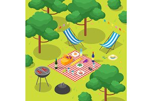 Family Picnic with Bbq Isometric