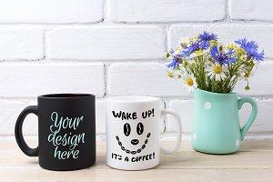 White and black mug mockup with
