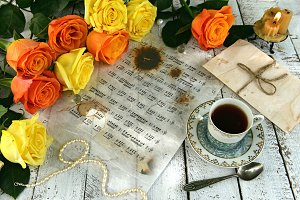 Music notes and yellow roses