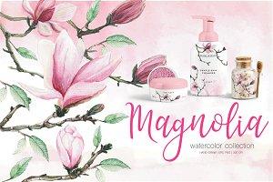 Blossom Magnolia watercolor clipart