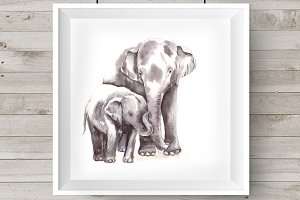 Watercolor Mother & Baby - Elephants