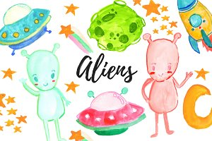 Watercolor Alien Clipart