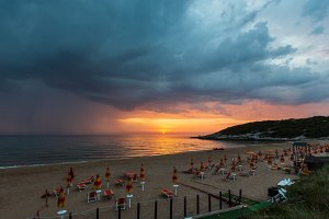 Summer sunset on Adriatic sea beach