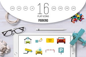 Parking icons set, flat style