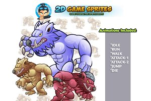 Monster Wolfs 2D Game Sprites Set