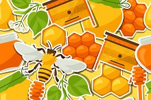 Patterns with honey stickers.