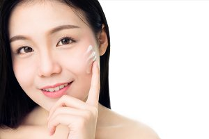 Portrait of woman skin beauty and health, for spa products and make up. The skin is smooth and beautiful. concept of healthy women, on white background.