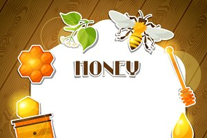 Backgrounds with honey stickers.