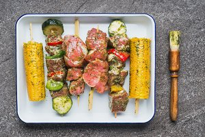 Meat, vegetables and corn Skewers
