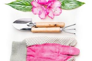 Pink gardening setting