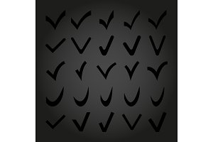Set of 25 Different Vector Check Marks